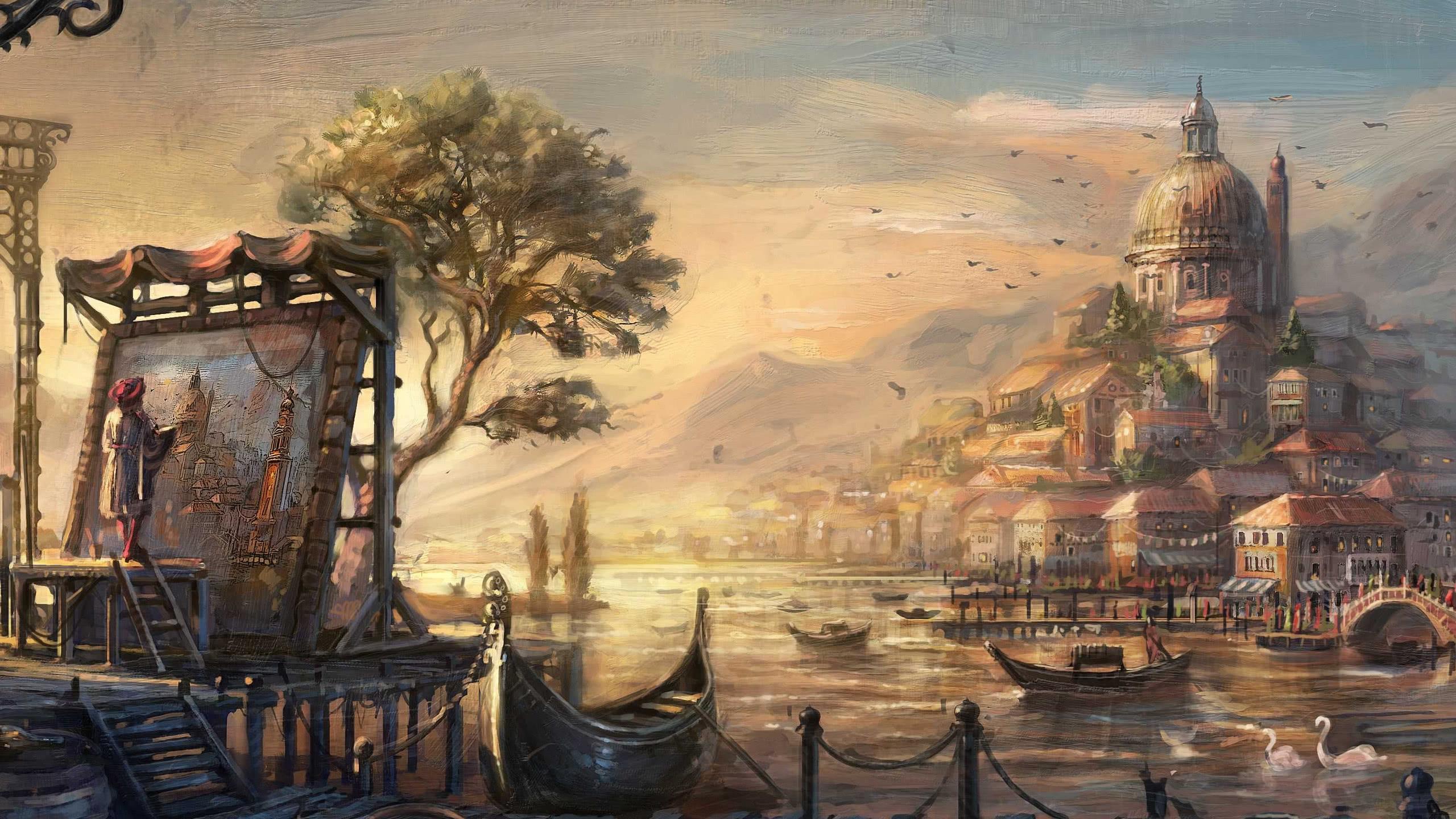 anno 1404 venice painting wqhd 1440p wallpaper