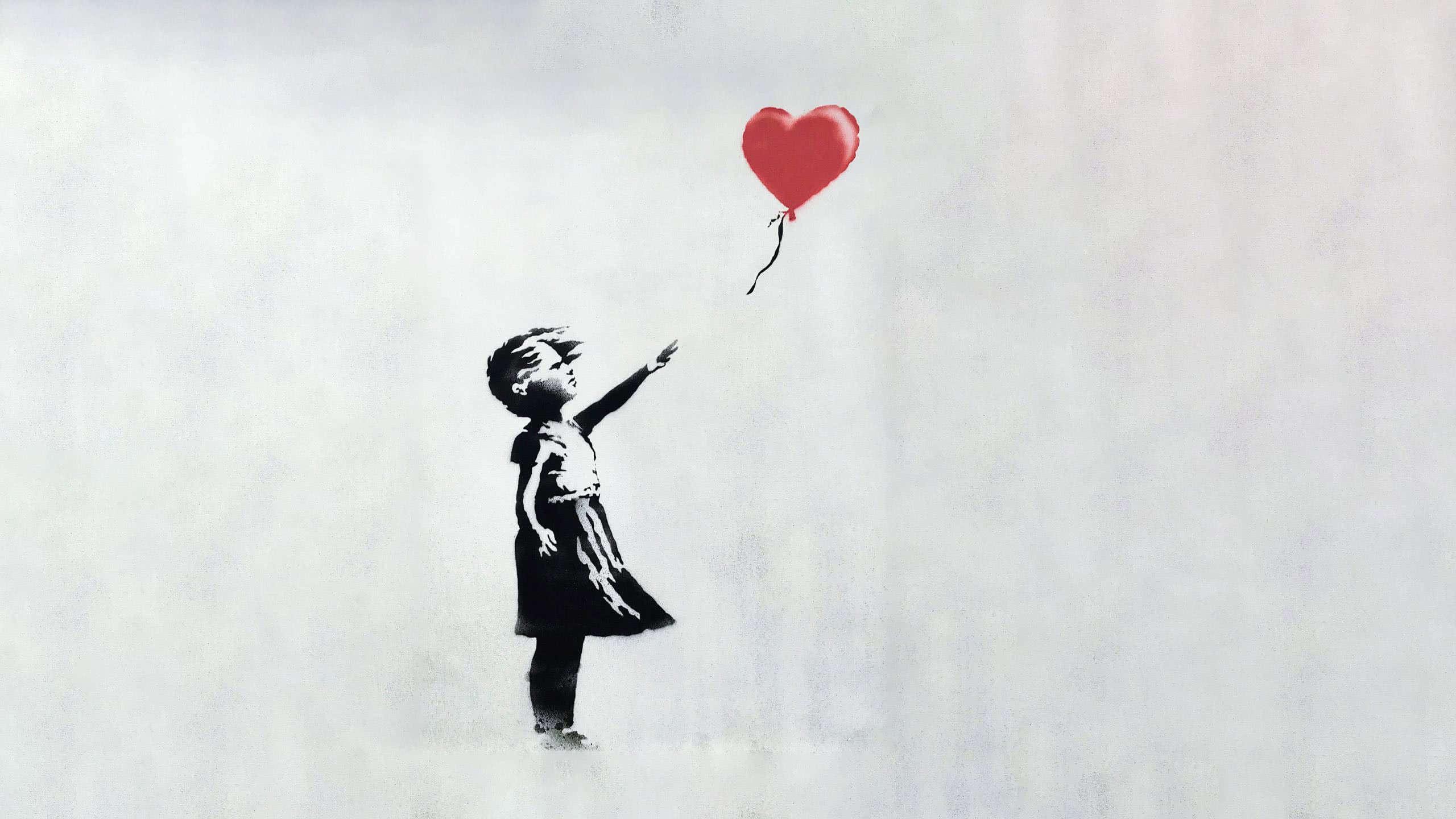 banksy baloon girl painting wqhd 1440p wallpaper