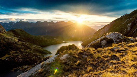 fiordland mountain sunrise new zealand wqhd 1440p wallpaper