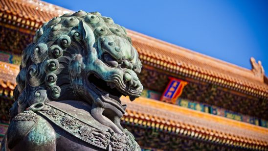 imperial guardian lion forbidden city beijing china wqhd 1440p wallpaper