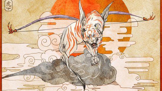 japanese art kami tiger wqhd 1440p wallpaper