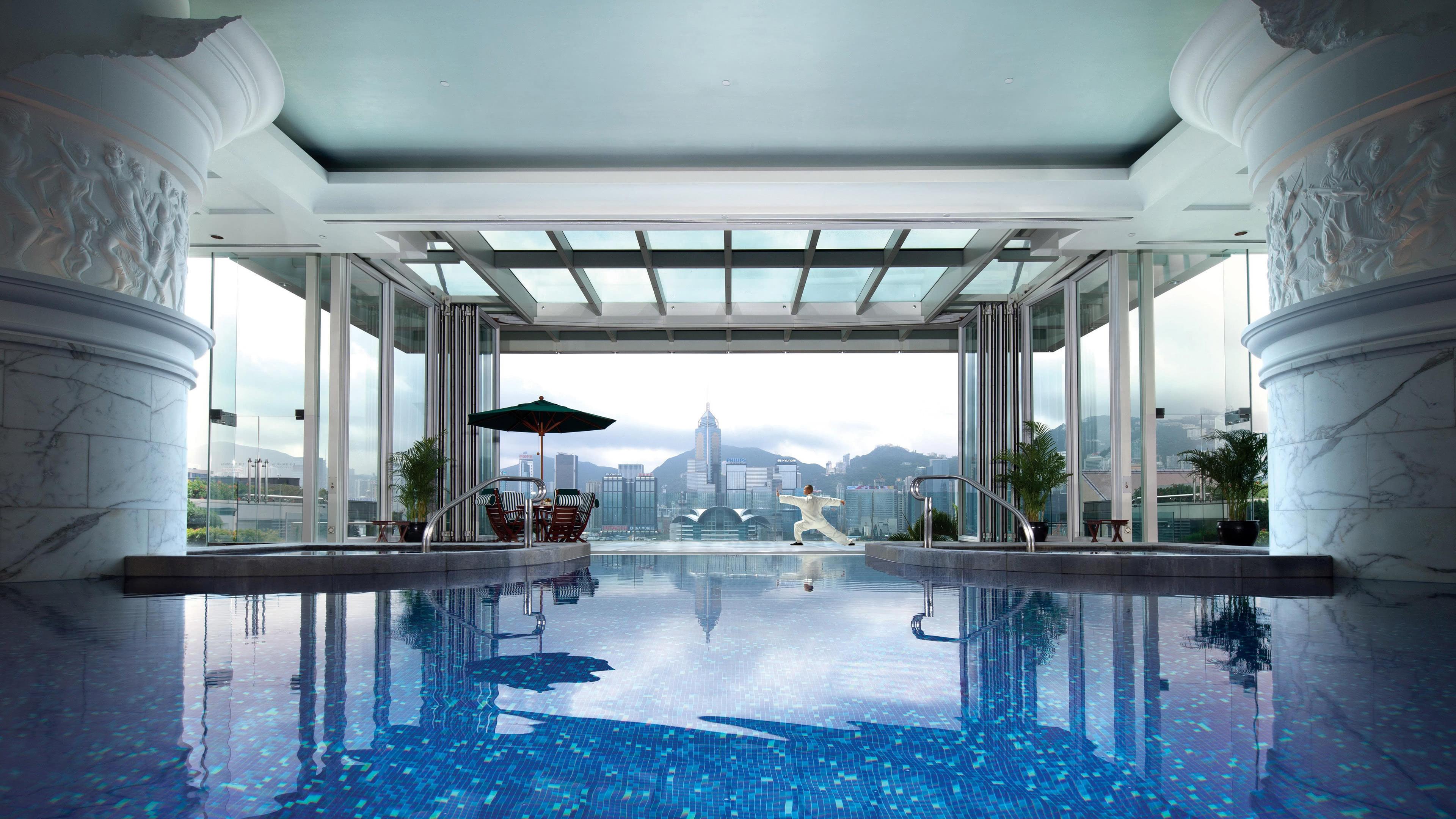 vthe peninsula hong kong pool china uhd 4k wallpaper