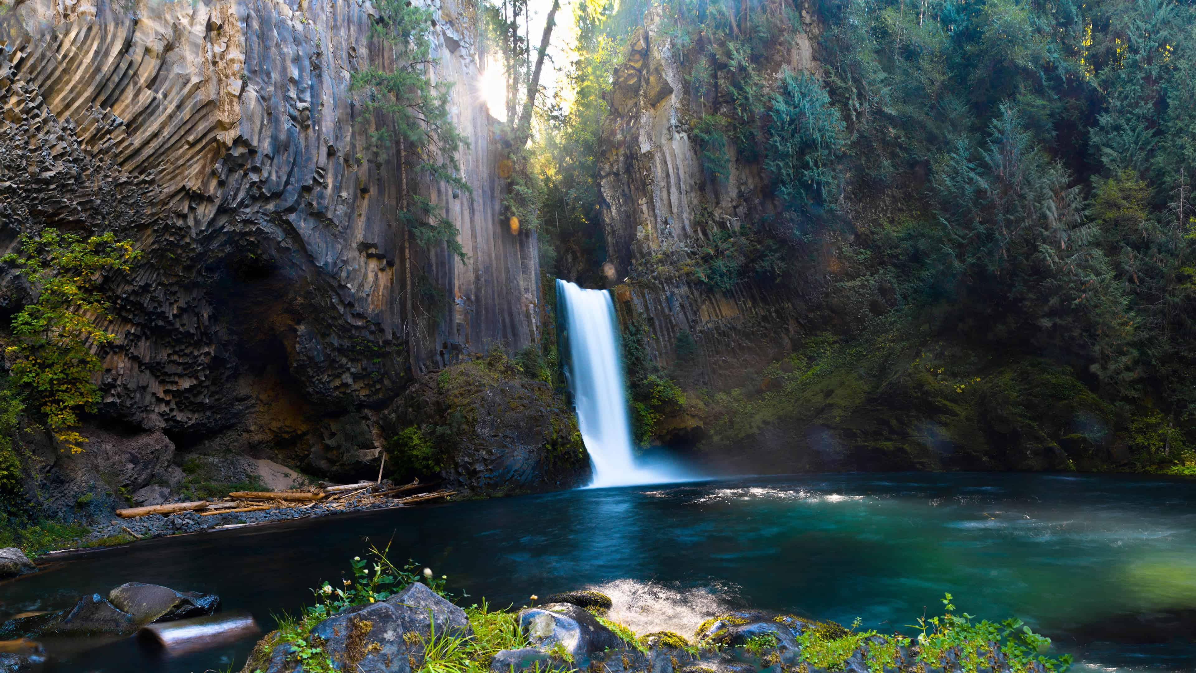 toketee falls north umpqua river oregon united states uhd 4k wallpaper