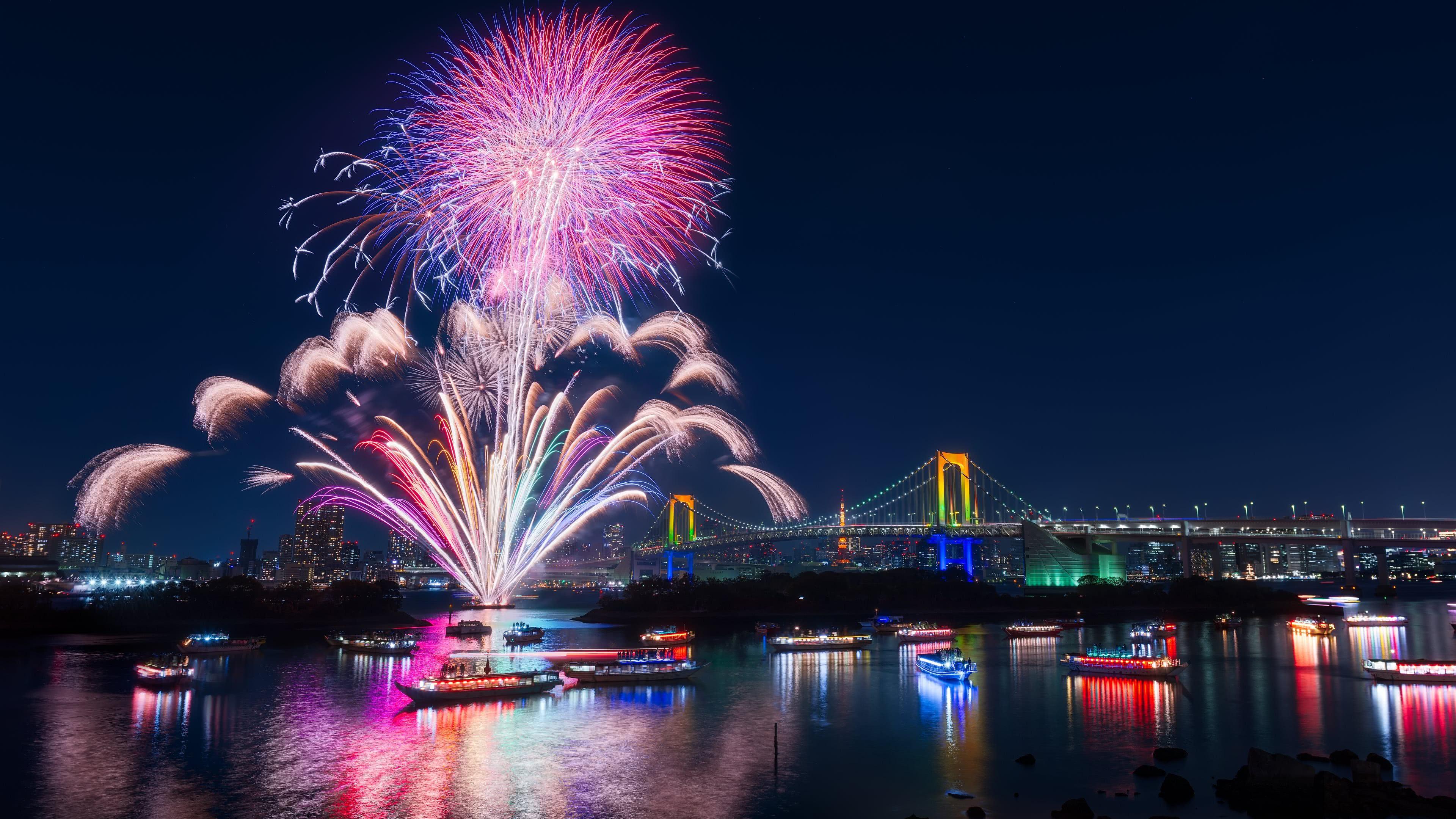tokyo fireworks uhd 4k wallpaper