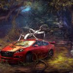 toyota ft1 in forest with robots uhd 4k wallpaper