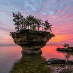 turnip rock port sunset austin michigan united states uhd 4k wallpaper