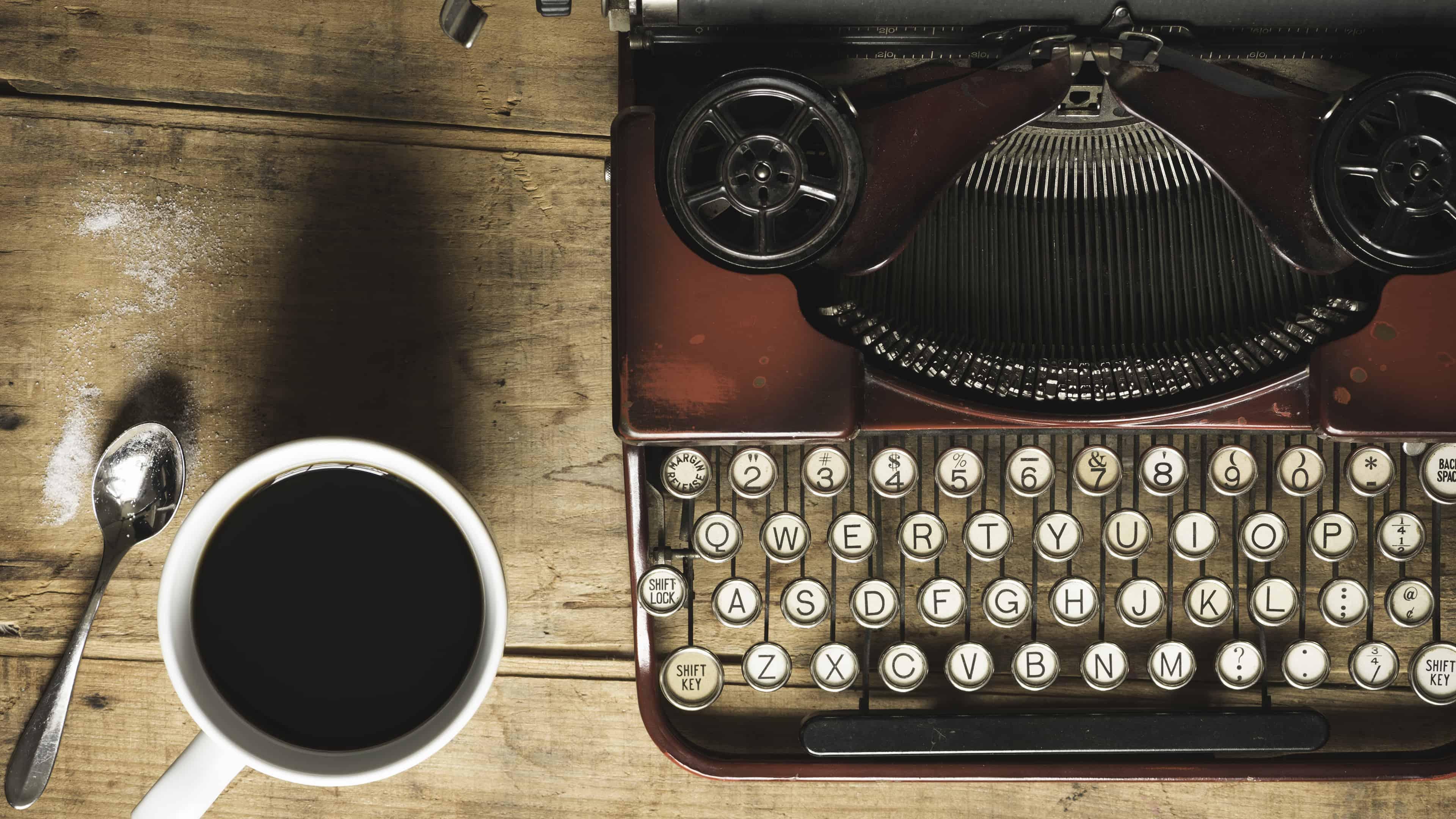 typewriter and coffee uhd 4k wallpaper