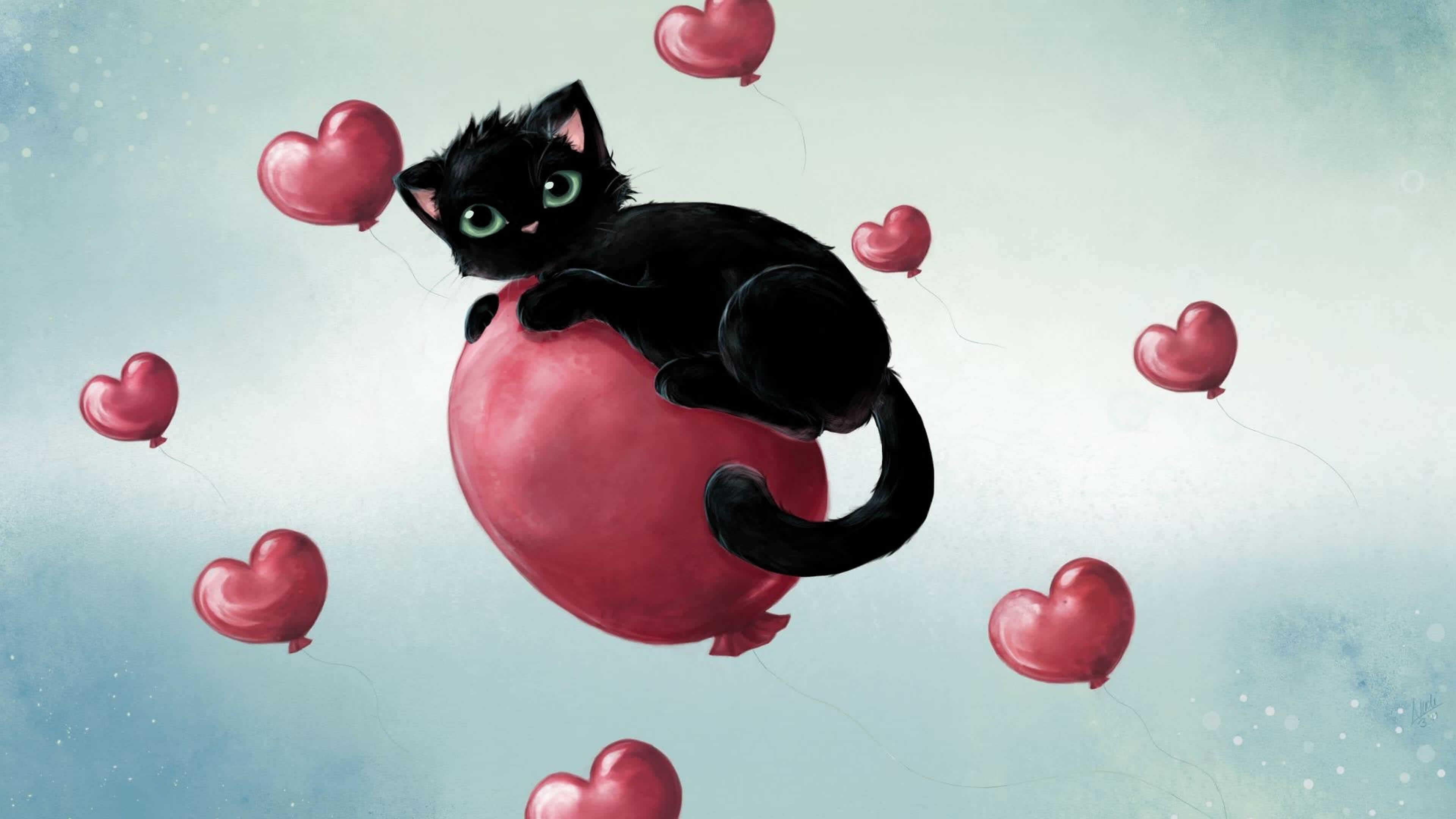 valentines day cat on heart balloon uhd 4k wallpaper