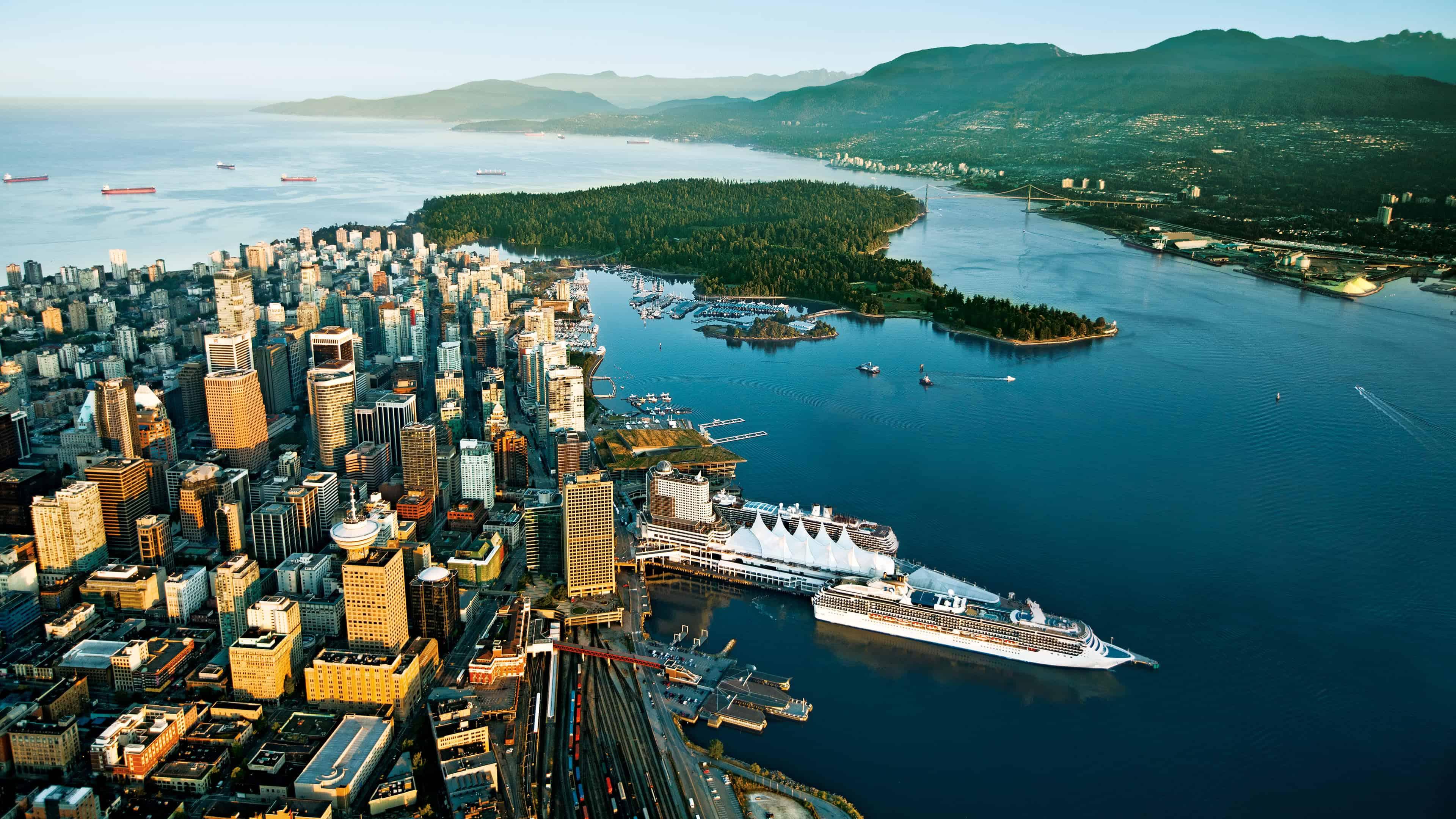 vancouver city canada aerial view uhd 4k wallpaper