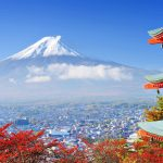view of mount fuji from red pagoda tokyo japan uhd 4k wallpaper