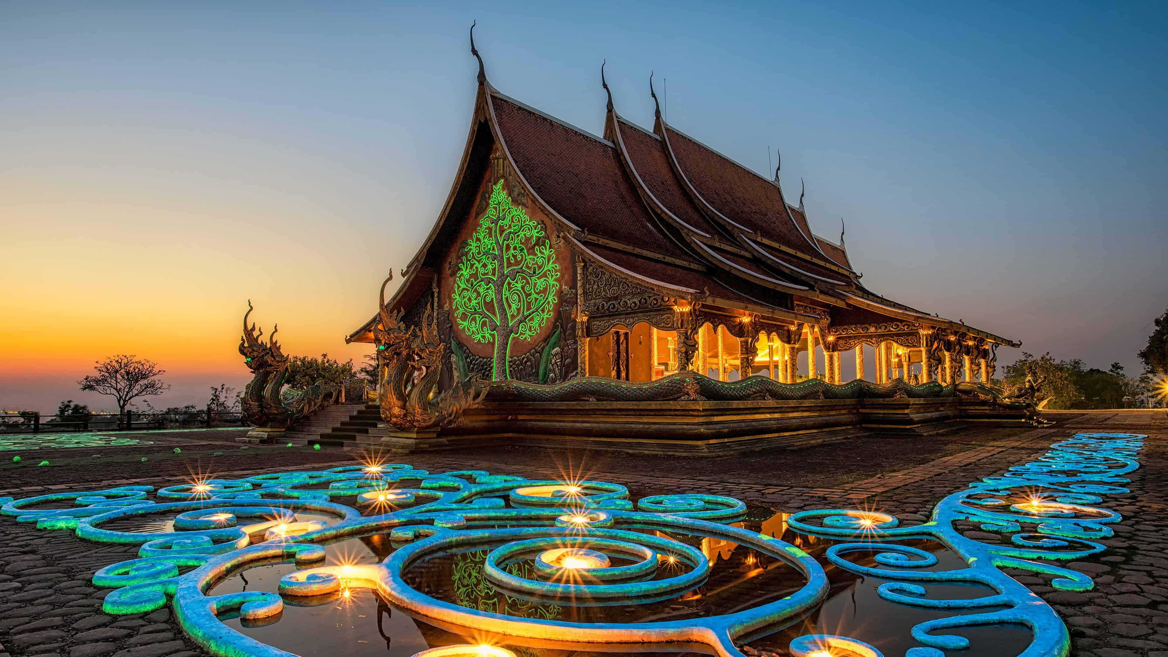 wat sirindhorn wararam phu prao buddhist temple ubon ratchatani thailand uhd 4k wallpaper