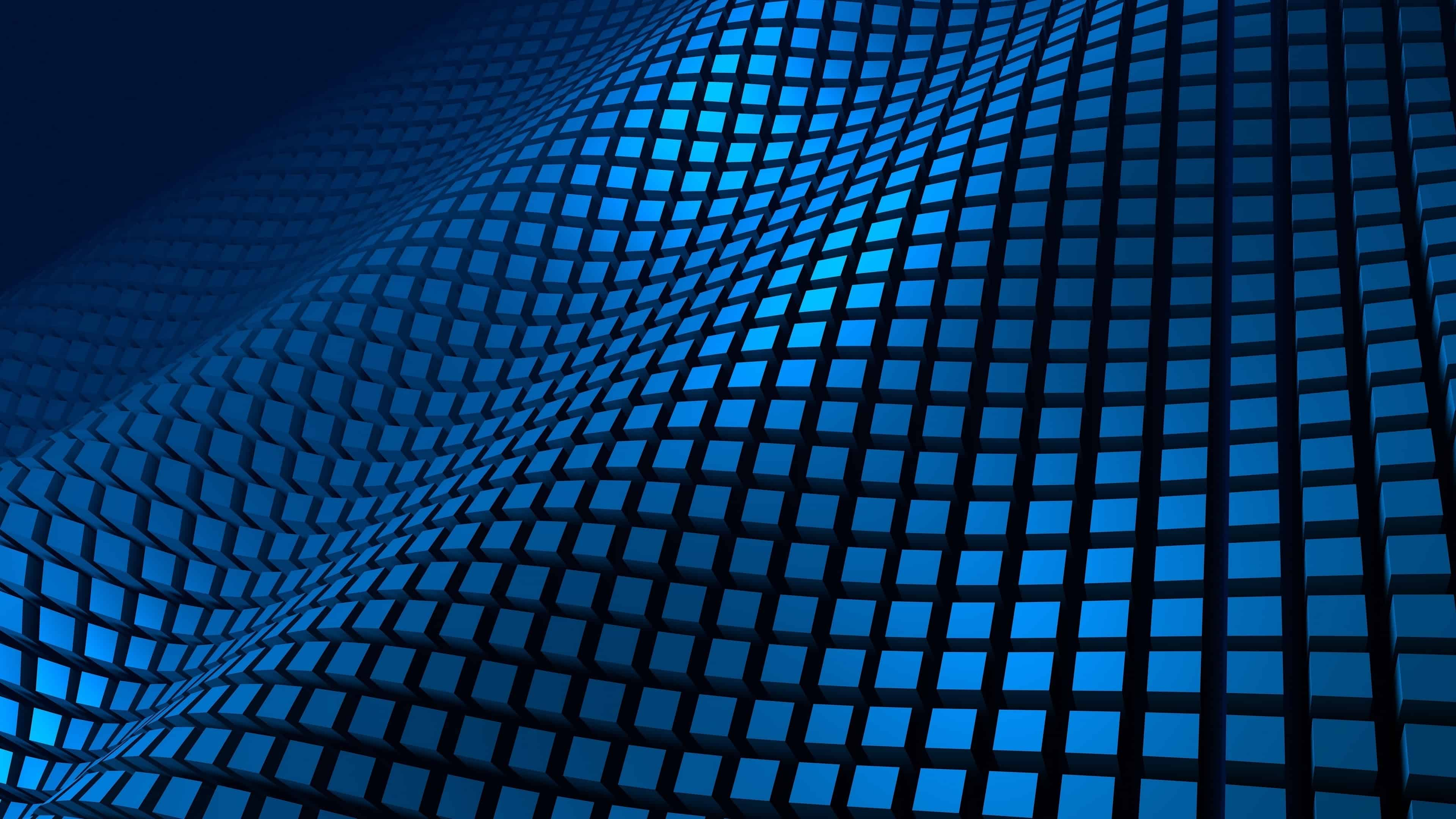 wavy cube pattern blue uhd 4k wallpaper