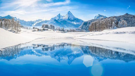 winter mountains lake landscape uhd 4k wallpaper