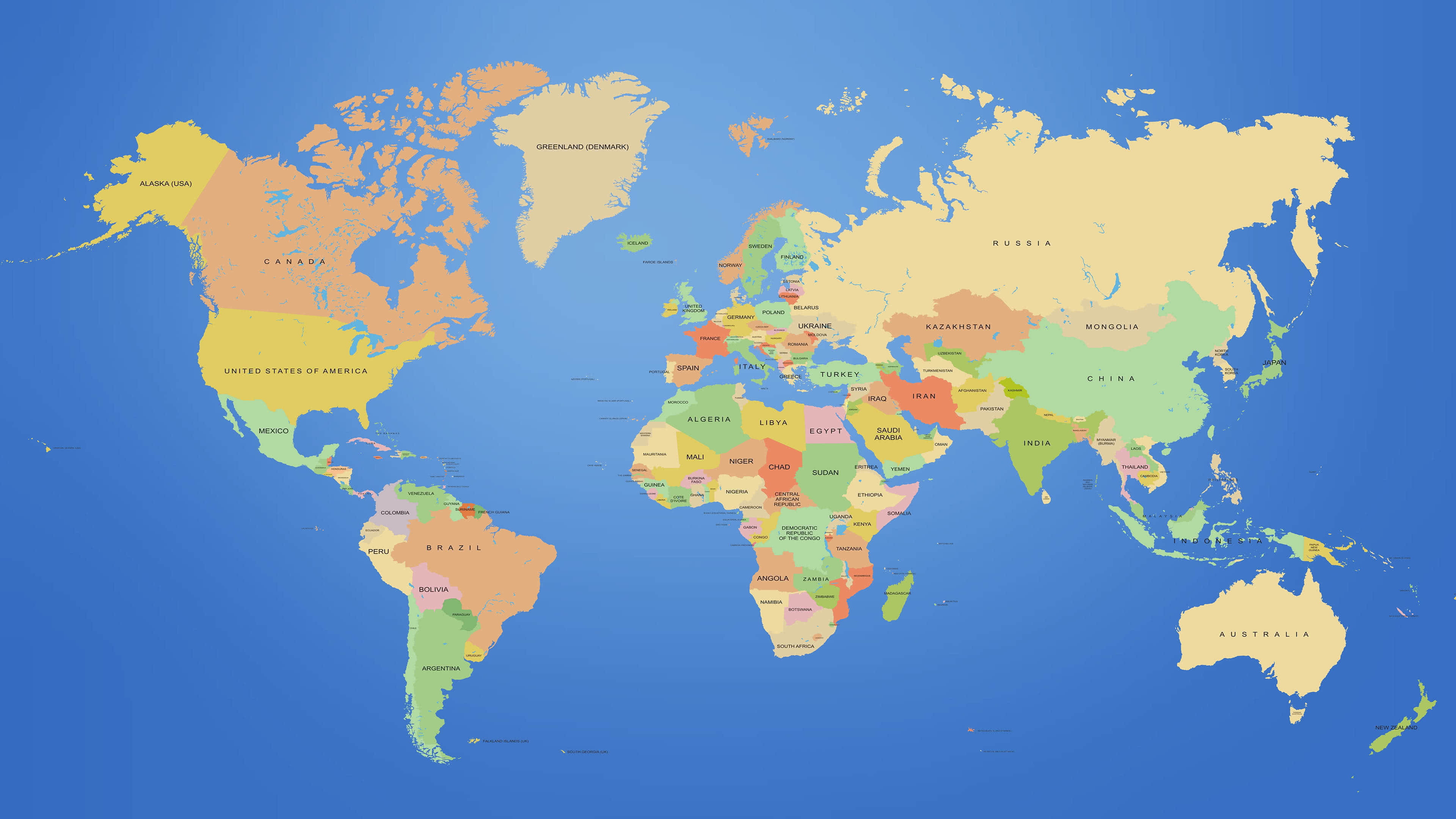 world map with countries uhd 4k wallpaper